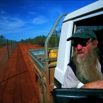 Bilby Man, Peter McRae checking the Bilby Fence