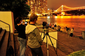 Photographers wating for the firworks in Brisbane